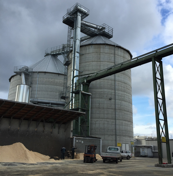 wood pellets housed in silos for storage